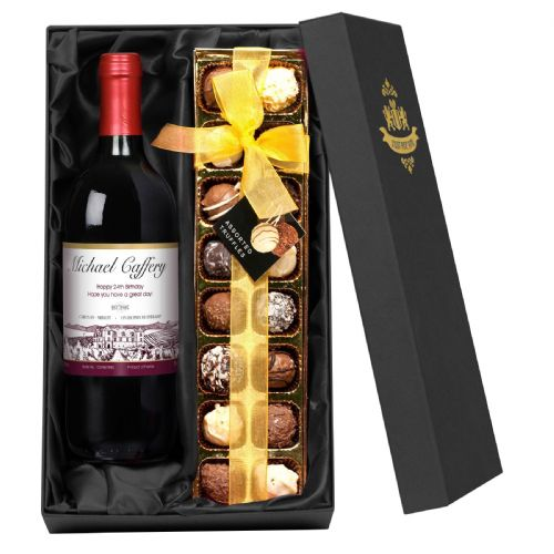 Personalised Red Wine and Chocolates